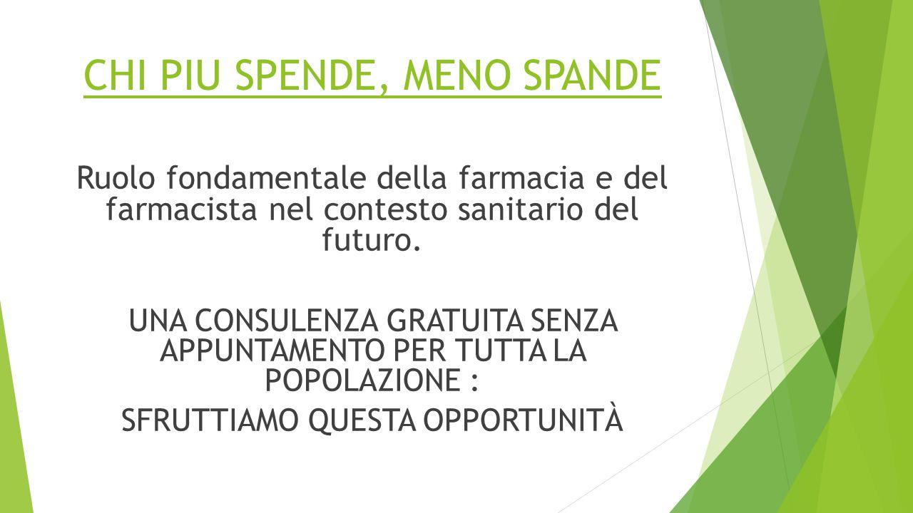 CHI PIU SPENDE, MENO SPANDE Ruolo fondamentale della farmacia e del farmacista nel contesto sanitario del futuro.