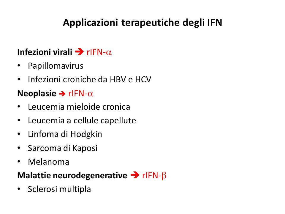 Applicazioni terapeutiche degli IFN Infezioni virali  rIFN-  Papillomavirus Infezioni croniche da HBV e HCV Neoplasie  rIFN-  Leucemia mieloide cr