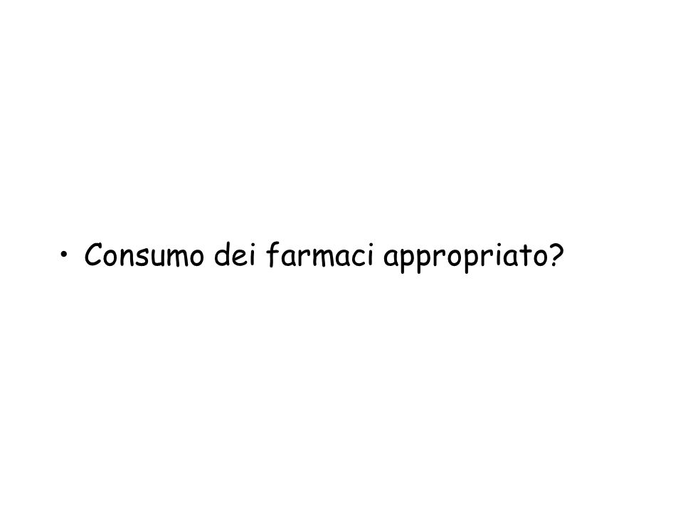 Consumo dei farmaci appropriato?