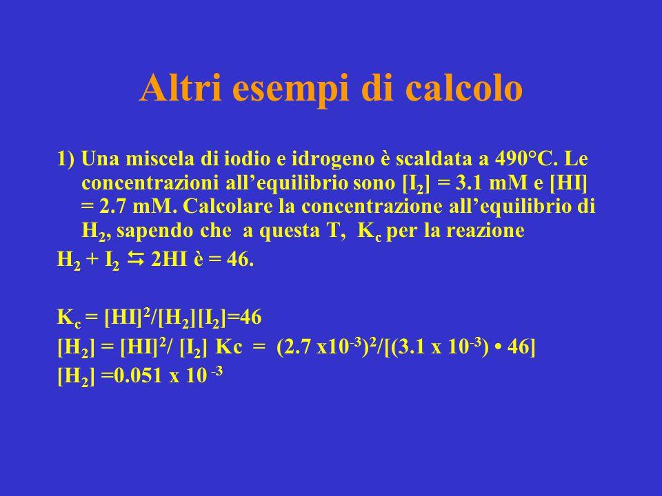 Altri esempi di calcolo 1) Una miscela di iodio e idrogeno è scaldata a 490°C. Le concentrazioni all'equilibrio sono [I 2 ] = 3.1 mM e [HI] = 2.7 mM.