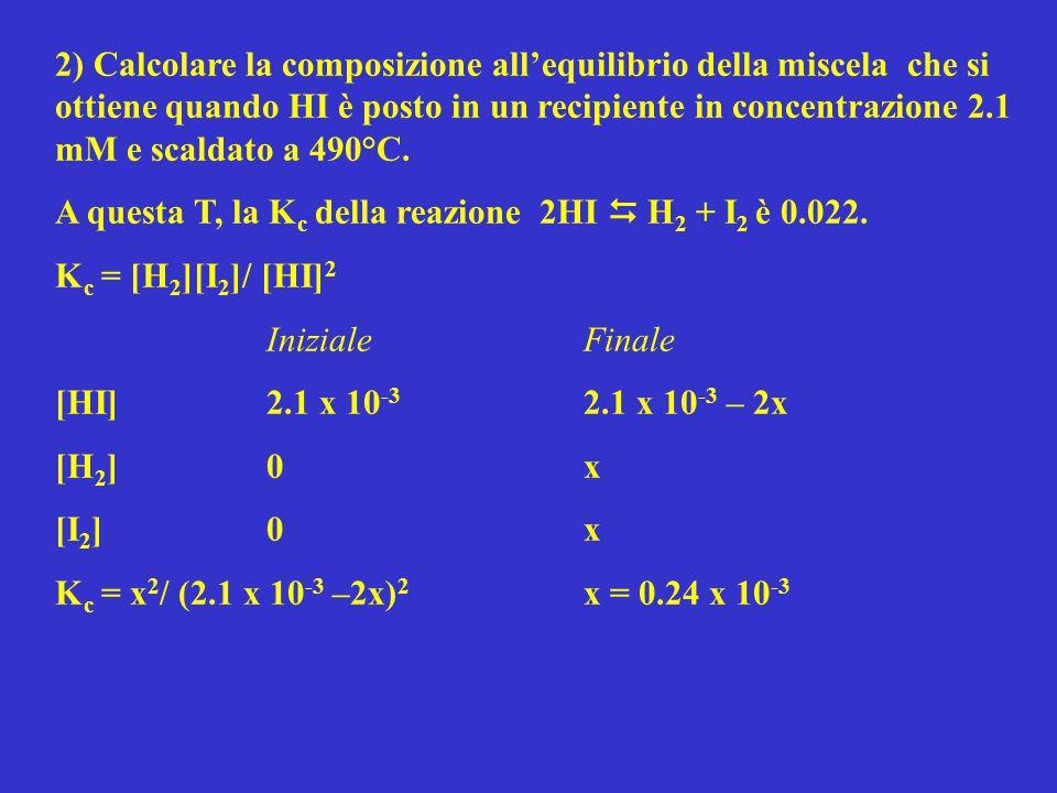2) Calcolare la composizione all'equilibrio della miscela che si ottiene quando HI è posto in un recipiente in concentrazione 2.1 mM e scaldato a 490°