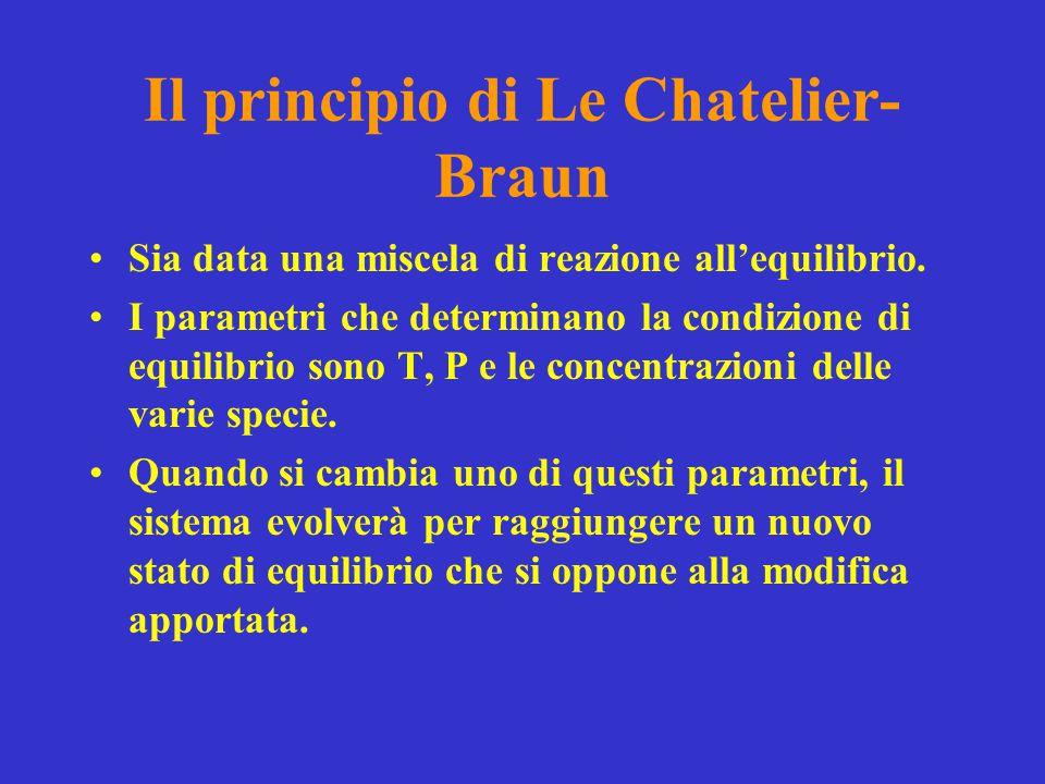 Il principio di Le Chatelier- Braun Sia data una miscela di reazione all'equilibrio. I parametri che determinano la condizione di equilibrio sono T, P
