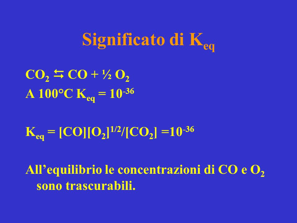 Significato di K eq CO 2  CO + ½ O 2 A 100°C K eq = 10 -36 K eq = [CO][O 2 ] 1/2 /[CO 2 ] =10 -36 All'equilibrio le concentrazioni di CO e O 2 sono t