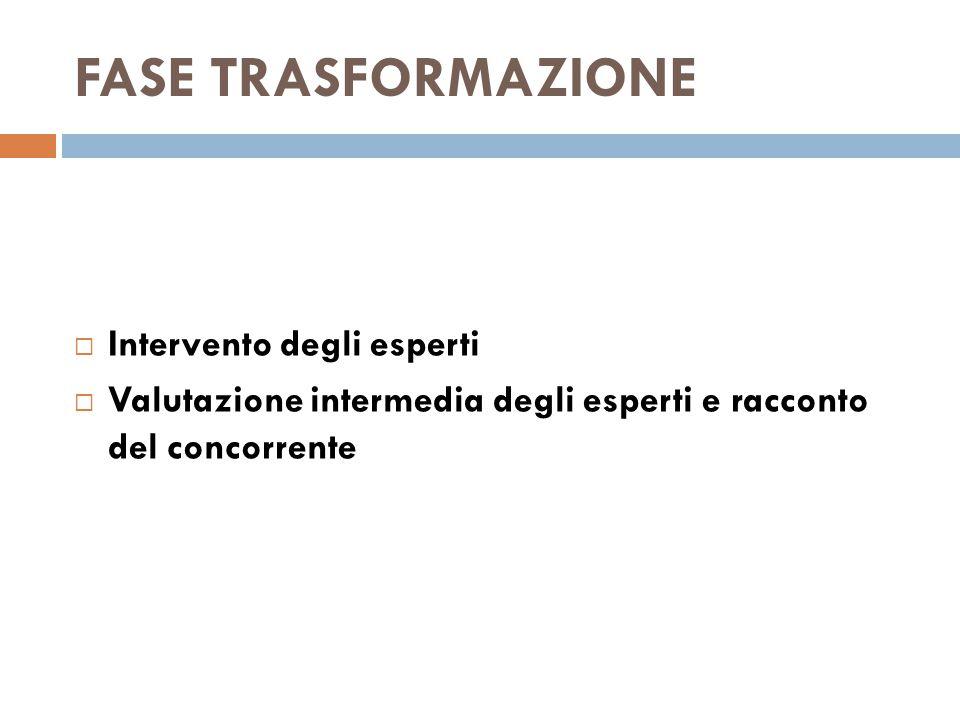 FASE TRASFORMAZIONE  Intervento degli esperti  Valutazione intermedia degli esperti e racconto del concorrente