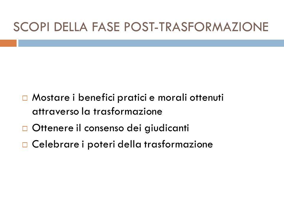 SCOPI DELLA FASE POST-TRASFORMAZIONE  Mostare i benefici pratici e morali ottenuti attraverso la trasformazione  Ottenere il consenso dei giudicanti  Celebrare i poteri della trasformazione