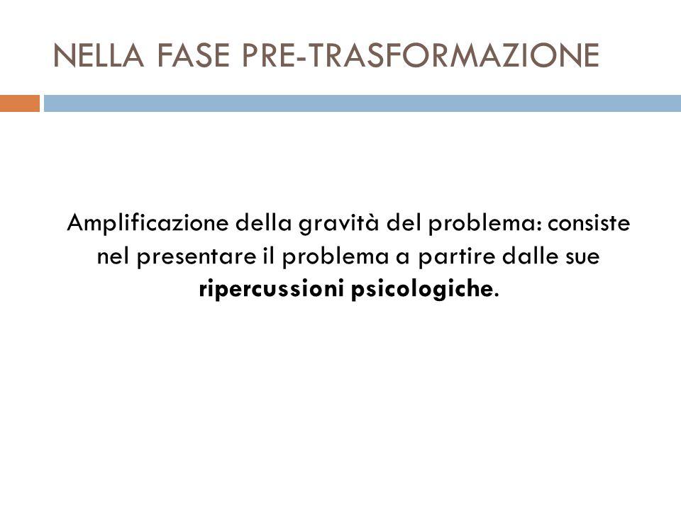 NELLA FASE PRE-TRASFORMAZIONE Amplificazione della gravità del problema: consiste nel presentare il problema a partire dalle sue ripercussioni psicologiche.