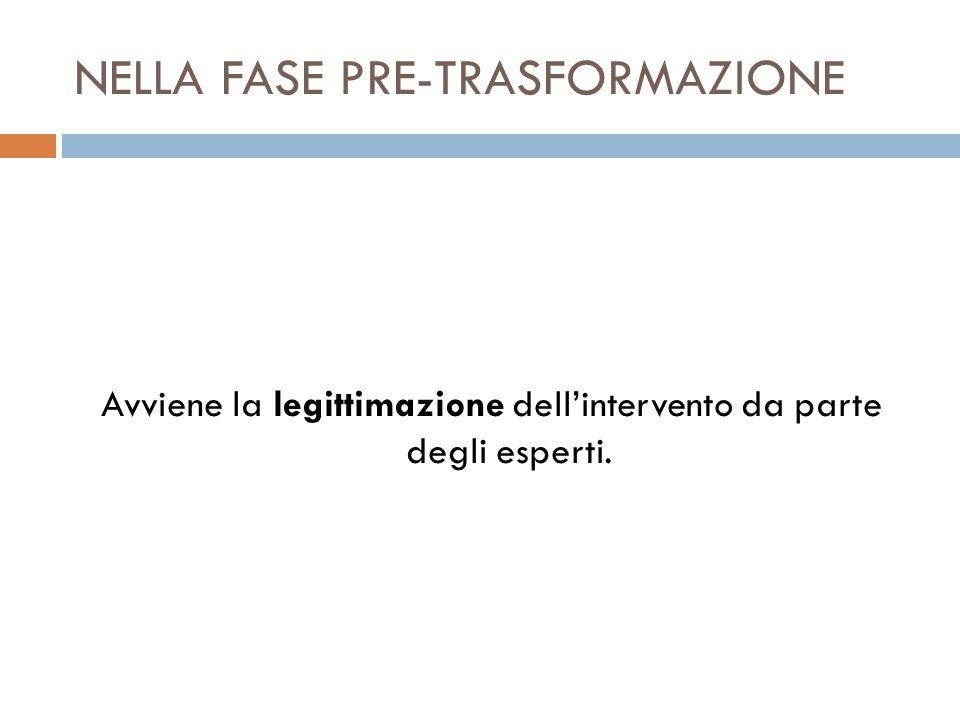 NELLA FASE PRE-TRASFORMAZIONE Avviene la legittimazione dell'intervento da parte degli esperti.