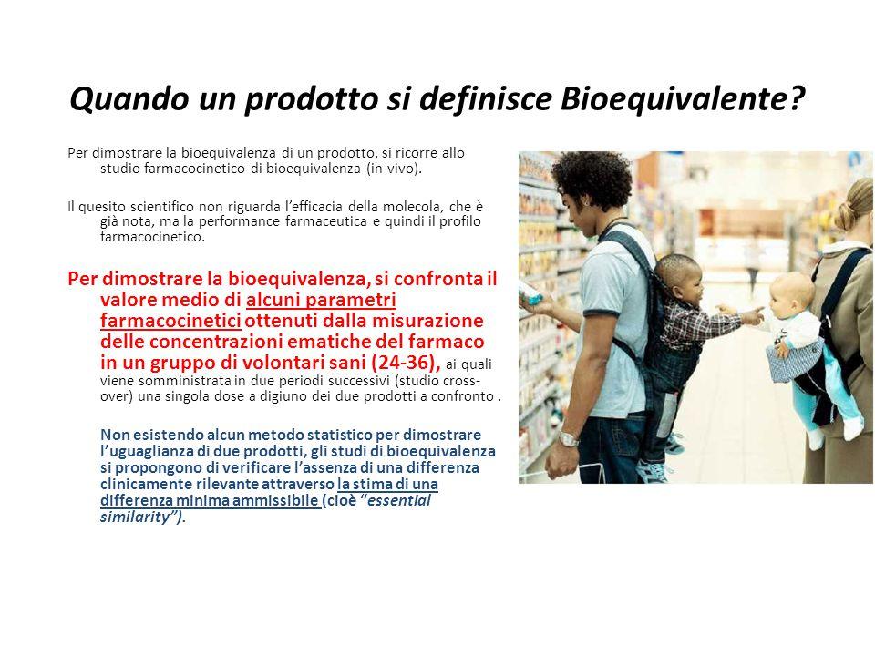 Quando un prodotto si definisce Bioequivalente? Per dimostrare la bioequivalenza di un prodotto, si ricorre allo studio farmacocinetico di bioequivale