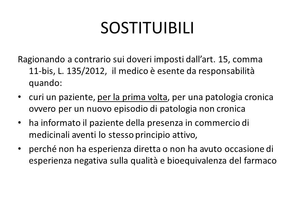 SOSTITUIBILI Ragionando a contrario sui doveri imposti dall'art. 15, comma 11-bis, L. 135/2012, il medico è esente da responsabilità quando: curi un p