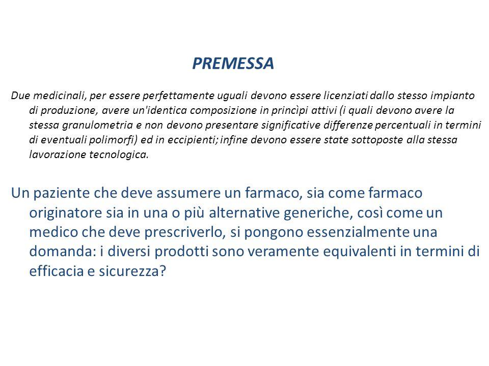 Farmaco generico: bioequivalente Definizione AIFA: un medicinale equivalente ( generico) è una copia del suo medicinale di riferimento ( brand) presente sul mercato da molti anni ( 10 in Italia), il cui brevetto sia scaduto.