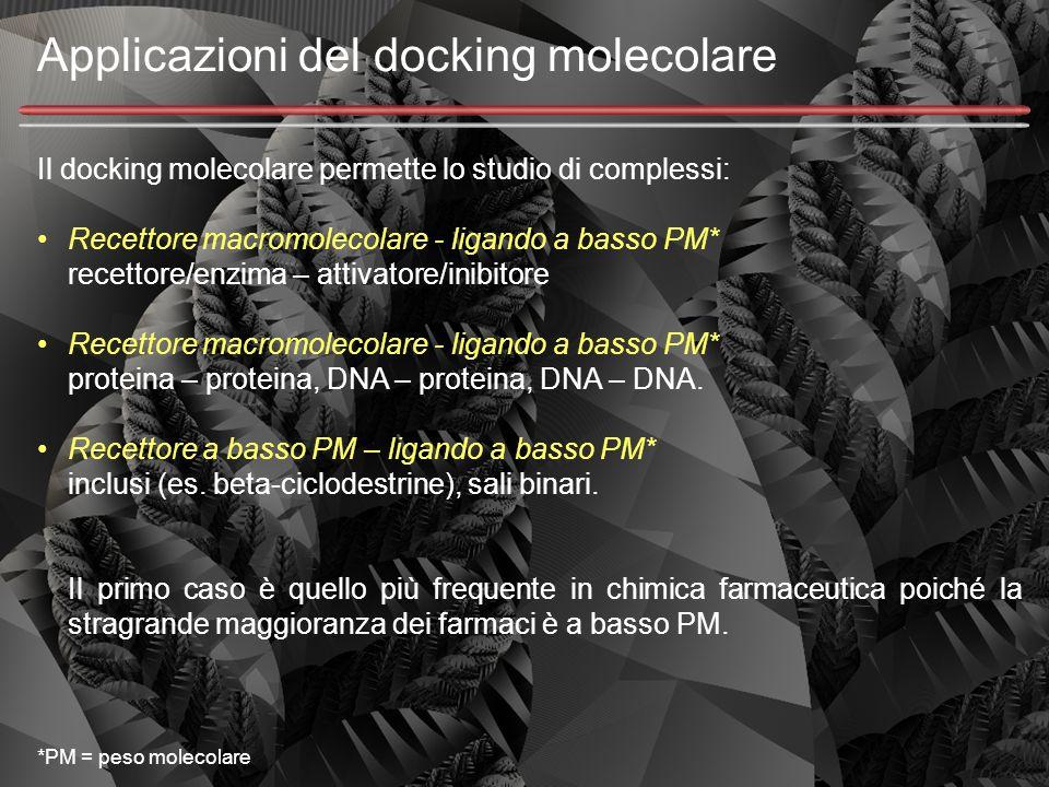 Applicazioni del docking molecolare Il docking molecolare permette lo studio di complessi: Recettore macromolecolare - ligando a basso PM* recettore/e