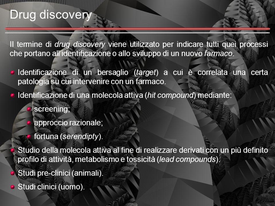 Drug discovery Il termine di drug discovery viene utilizzato per indicare tutti quei processi che portano all'identificazione o allo sviluppo di un nu