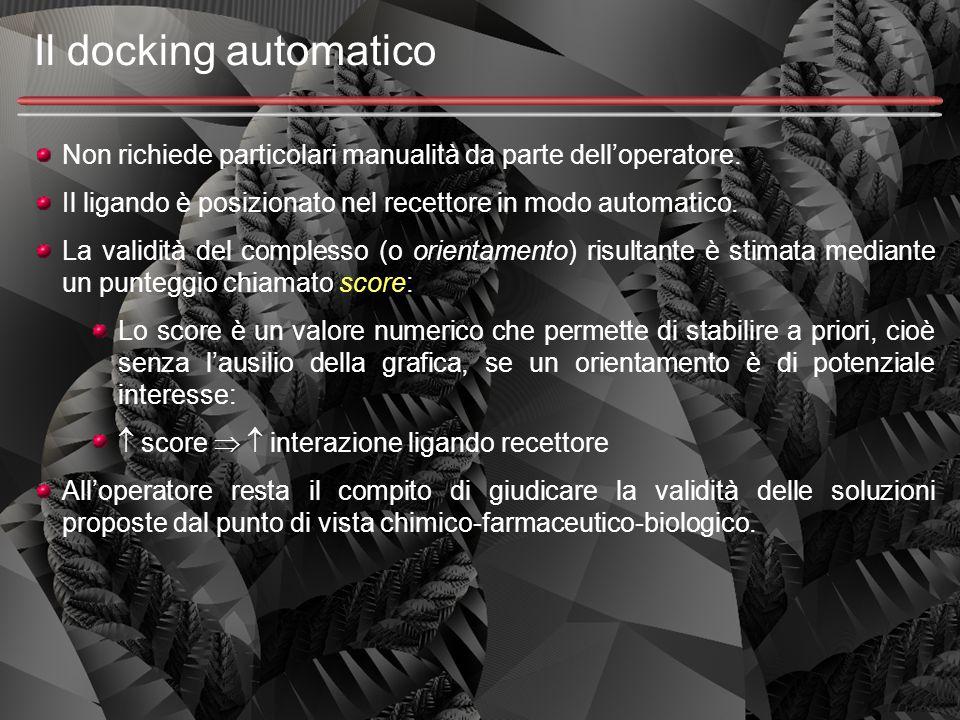 Il docking automatico Non richiede particolari manualità da parte dell'operatore. Il ligando è posizionato nel recettore in modo automatico. La validi