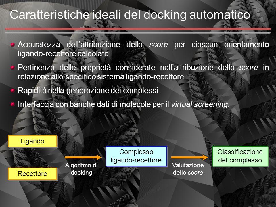 Caratteristiche ideali del docking automatico Accuratezza dell'attribuzione dello score per ciascun orientamento ligando-recettore calcolato. Pertinen