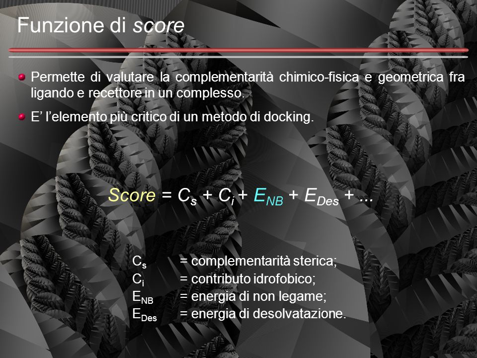 Funzione di score Permette di valutare la complementarità chimico-fisica e geometrica fra ligando e recettore in un complesso. E' l'elemento più criti