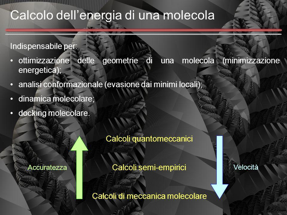 Calcolo dell'energia di una molecola Indispensabile per: ottimizzazione delle geometrie di una molecola (minimizzazione energetica); analisi conformaz