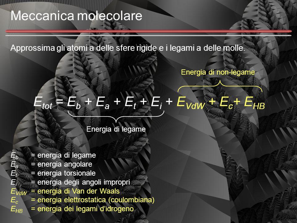 Meccanica molecolare Approssima gli atomi a delle sfere rigide e i legami a delle molle. E tot = E b + E a + E t + E i + E VdW + E c + E HB Energia di