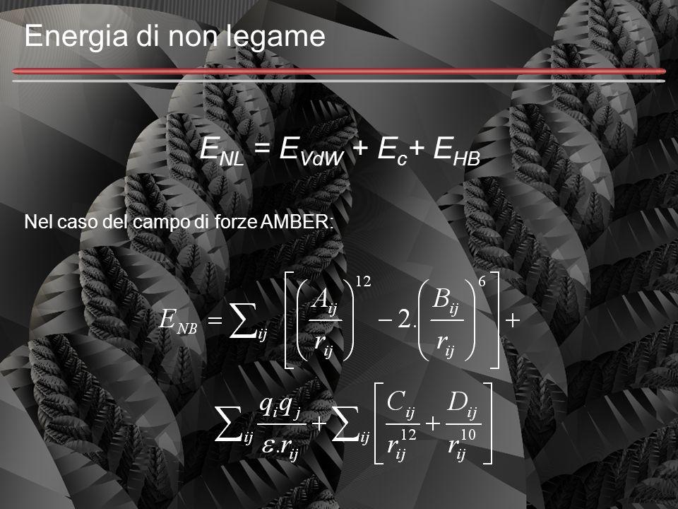 Energia di non legame E NL = E VdW + E c + E HB Nel caso del campo di forze AMBER: