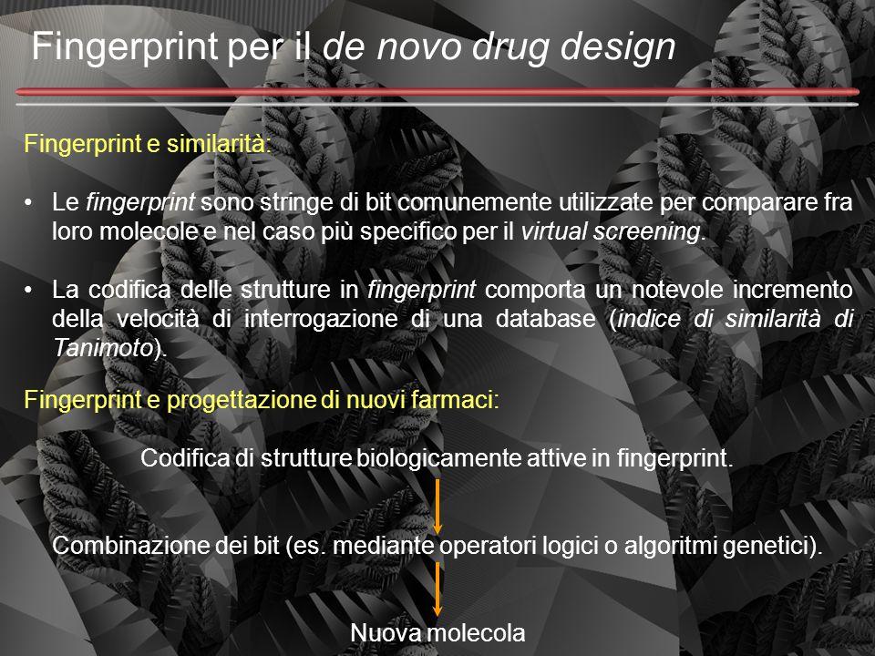 Fingerprint per il de novo drug design Fingerprint e similarità: Le fingerprint sono stringe di bit comunemente utilizzate per comparare fra loro mole
