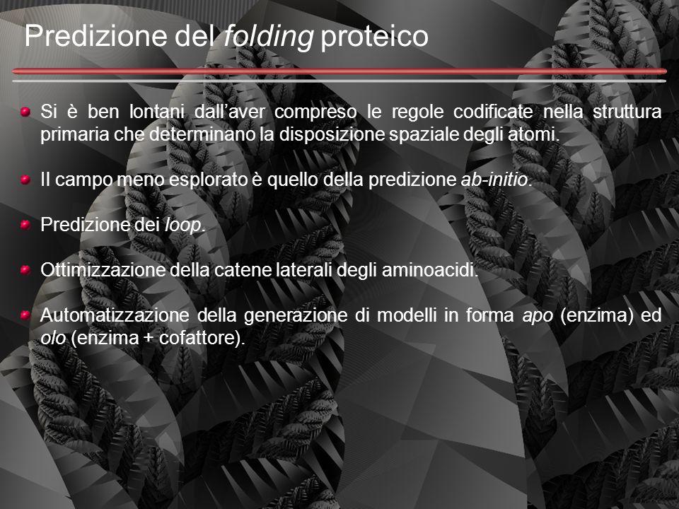 Predizione del folding proteico Si è ben lontani dall'aver compreso le regole codificate nella struttura primaria che determinano la disposizione spaz