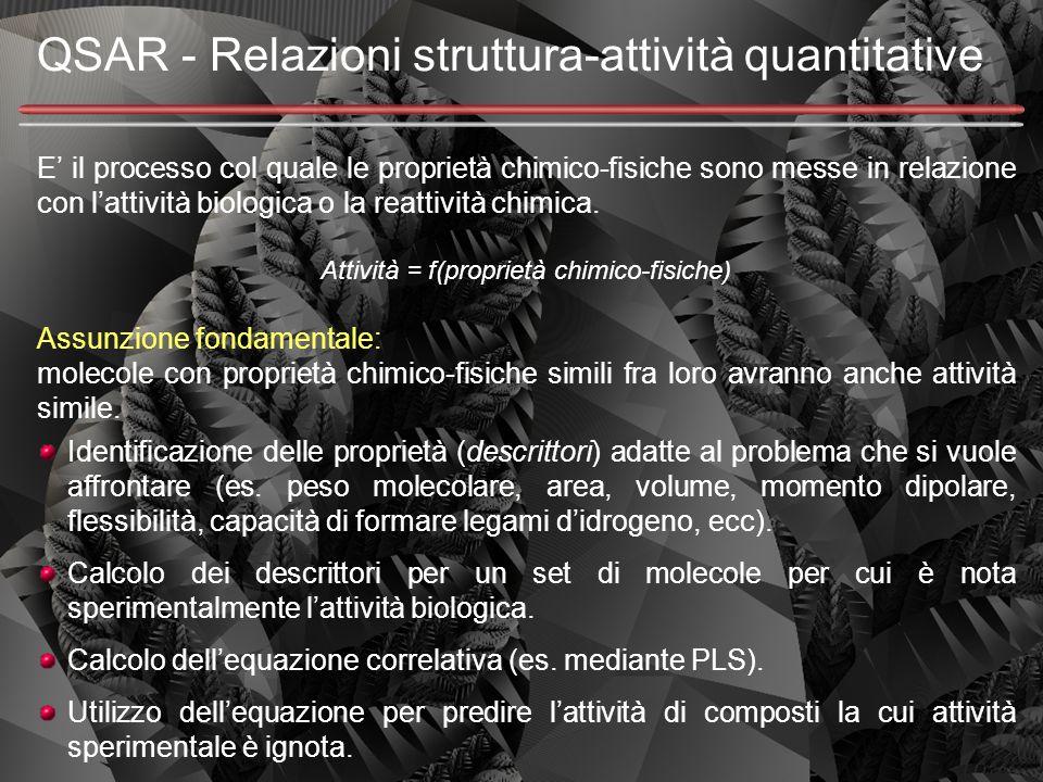 QSAR - Relazioni struttura-attività quantitative E' il processo col quale le proprietà chimico-fisiche sono messe in relazione con l'attività biologic
