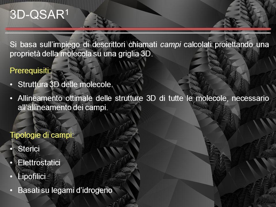 3D-QSAR 1 Si basa sull'impiego di descrittori chiamati campi calcolati proiettando una proprietà della molecola su una griglia 3D. Prerequisiti: Strut