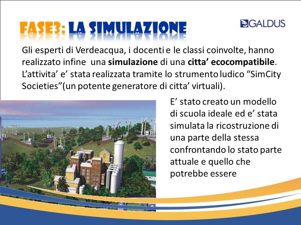Gli esperti di Verdeacqua, i docenti e le classi coinvolte, hanno realizzato infine una simulazione di una citta' ecocompatibile. L'attivita' e' stata