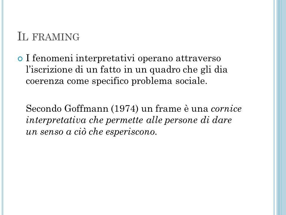 I L FRAMING I fenomeni interpretativi operano attraverso l'iscrizione di un fatto in un quadro che gli dia coerenza come specifico problema sociale. S