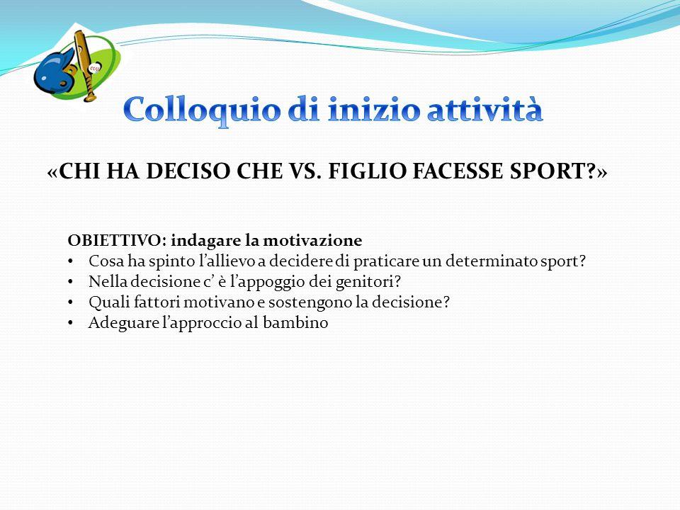 OBIETTIVO: indagare la motivazione Cosa ha spinto l'allievo a decidere di praticare un determinato sport? Nella decisione c' è l'appoggio dei genitori
