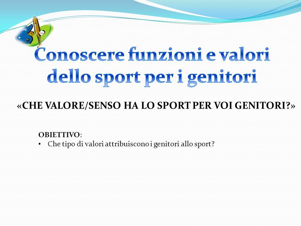 «CHE VALORE/SENSO HA LO SPORT PER VOI GENITORI?» OBIETTIVO: Che tipo di valori attribuiscono i genitori allo sport?