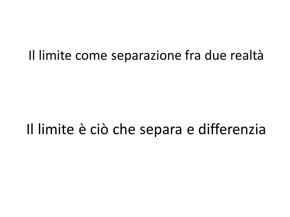 Il limite come separazione fra due realtà Il limite è ciò che separa e differenzia