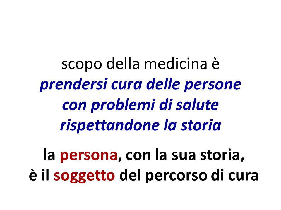scopo della medicina è prendersi cura delle persone con problemi di salute rispettandone la storia la persona, con la sua storia, è il soggetto del percorso di cura