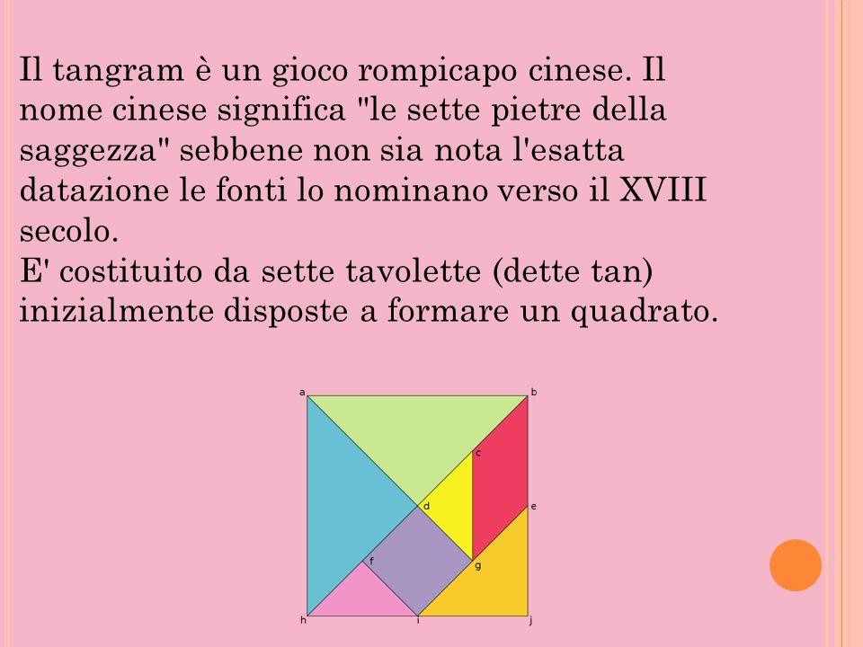 Il tangram è un gioco rompicapo cinese. Il nome cinese significa