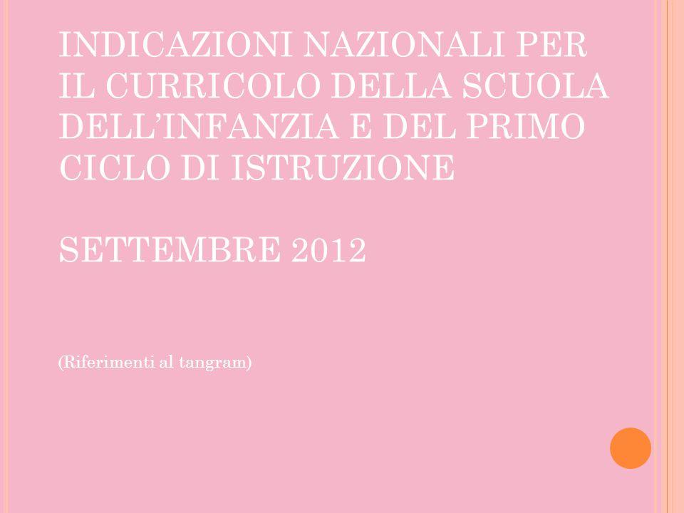 INDICAZIONI NAZIONALI PER IL CURRICOLO DELLA SCUOLA DELL'INFANZIA E DEL PRIMO CICLO DI ISTRUZIONE SETTEMBRE 2012 (Riferimenti al tangram)