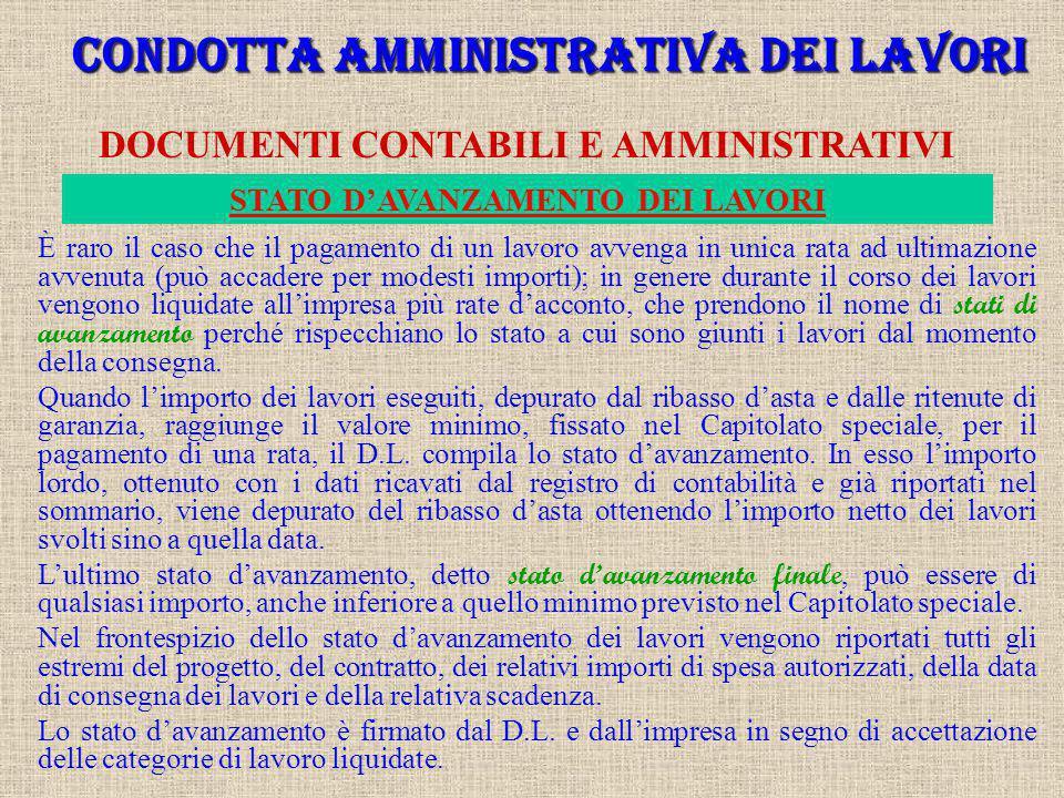 CONDOTTA AMMINISTRATIVA DEI LAVORI DOCUMENTI CONTABILI E AMMINISTRATIVI È un documento contabile non probatorio, ma utile per la redazione degli stati