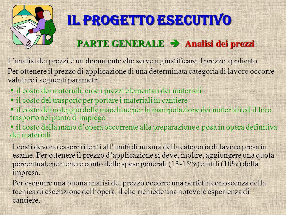 PARTE GENERALE  Capitolato speciale d'appalto IL PROGETTO ESECUTIVO Il capitolato speciale d'appalto è uno dei documenti fondamentali del progetto; i