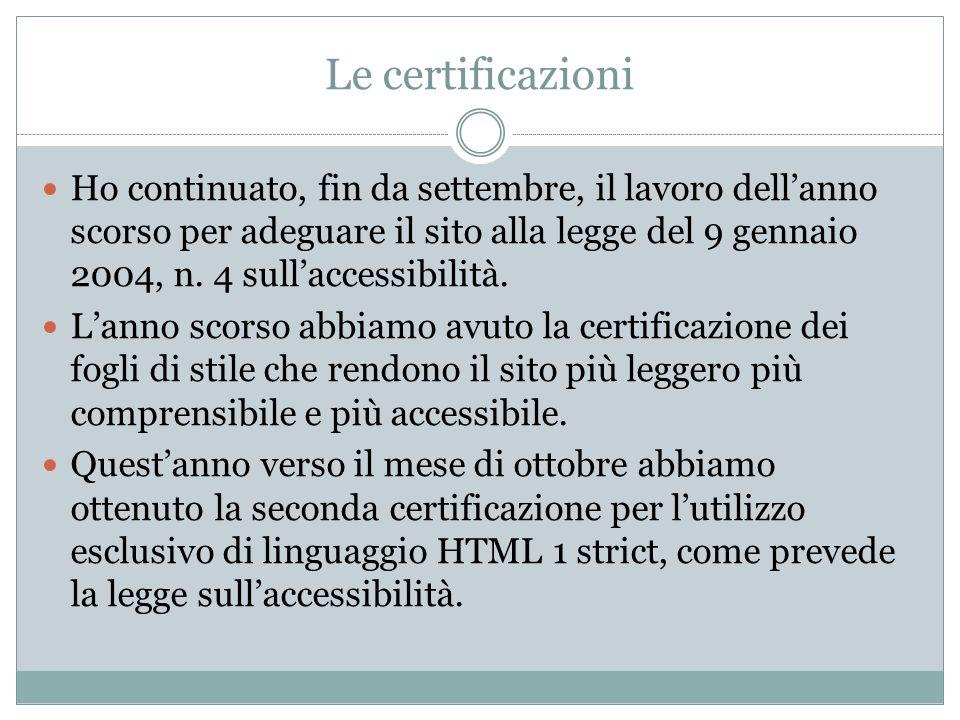 Le certificazioni Ho continuato, fin da settembre, il lavoro dell'anno scorso per adeguare il sito alla legge del 9 gennaio 2004, n.