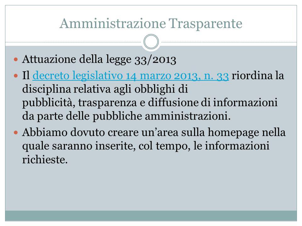 Amministrazione Trasparente Attuazione della legge 33/2013 Il decreto legislativo 14 marzo 2013, n.