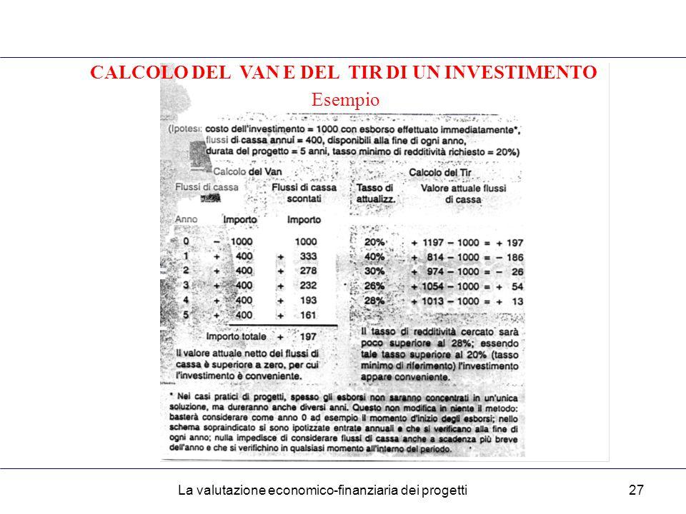 La valutazione economico-finanziaria dei progetti27 CALCOLO DEL VAN E DEL TIR DI UN INVESTIMENTO Esempio