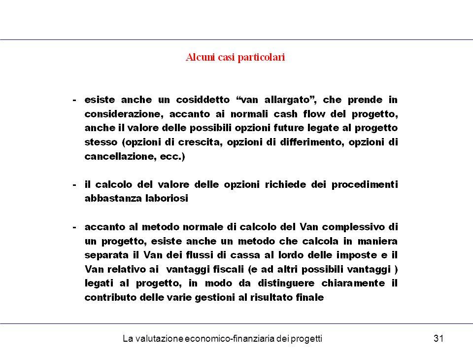 La valutazione economico-finanziaria dei progetti31