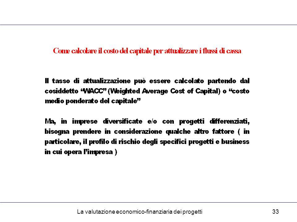 La valutazione economico-finanziaria dei progetti33
