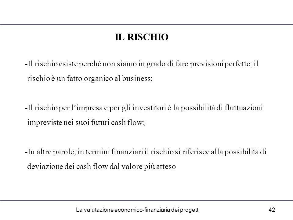 La valutazione economico-finanziaria dei progetti42 IL RISCHIO -Il rischio esiste perché non siamo in grado di fare previsioni perfette; il rischio è un fatto organico al business; -Il rischio per l'impresa e per gli investitori è la possibilità di fluttuazioni impreviste nei suoi futuri cash flow; -In altre parole, in termini finanziari il rischio si riferisce alla possibilità di deviazione dei cash flow dal valore più atteso