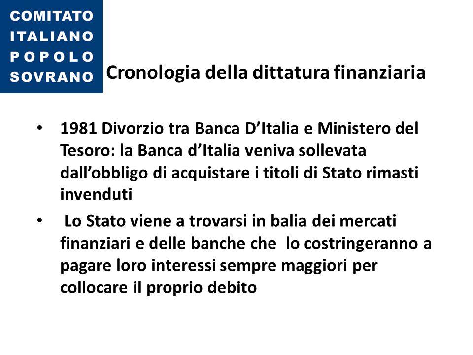 Cronologia della dittatura finanziaria 1981 Divorzio tra Banca D'Italia e Ministero del Tesoro: la Banca d'Italia veniva sollevata dall'obbligo di acq