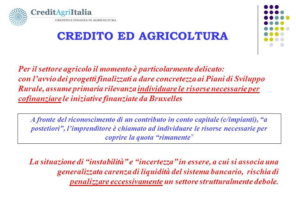 AGRICOLFIDI Nord-Ovest s.c. CREDITO ED AGRICOLTURA Per il settore agricolo il momento è particolarmente delicato: con l'avvio dei progetti finalizzati