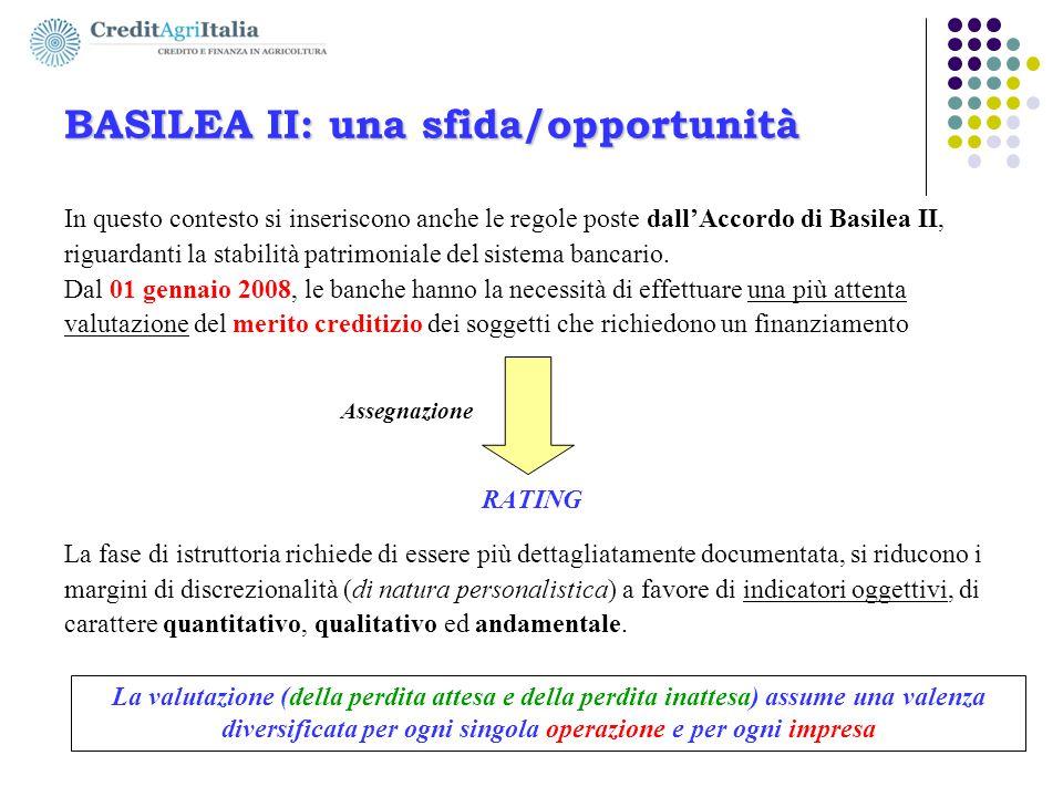 BASILEA II: una sfida/opportunità In questo contesto si inseriscono anche le regole poste dall'Accordo di Basilea II, riguardanti la stabilità patrimo