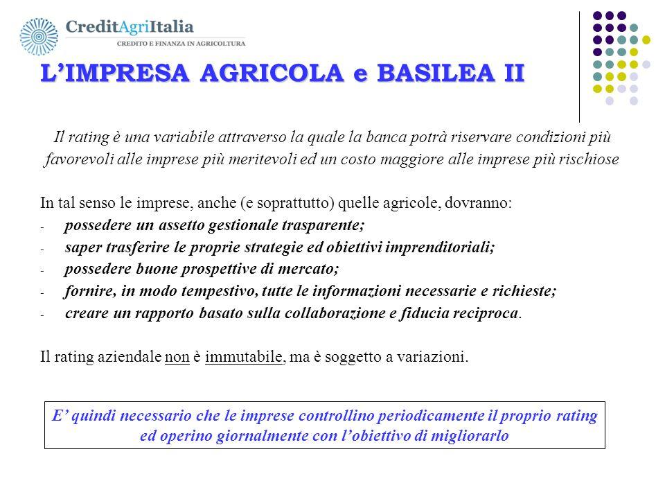 L'IMPRESA AGRICOLA e BASILEA II AGRICOLFIDI Ovest-Ovest s.c. L'IMPRESA AGRICOLA e BASILEA II Il rating è una variabile attraverso la quale la banca po