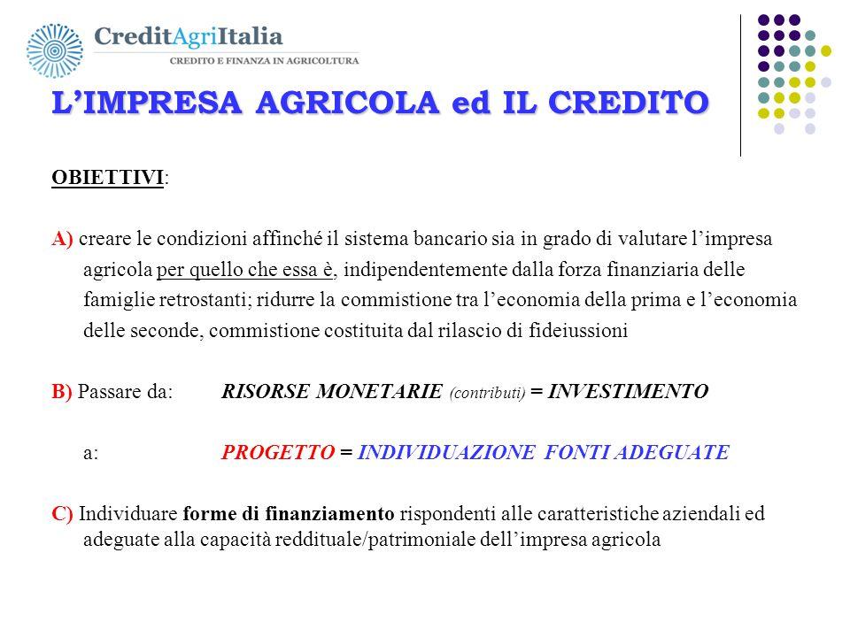 L'IMPRESA AGRICOLA ed IL CREDITO OBIETTIVI: A) creare le condizioni affinché il sistema bancario sia in grado di valutare l'impresa agricola per quell