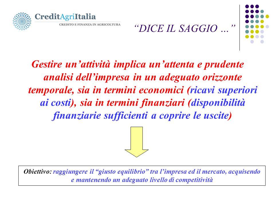 """. """"DICE IL SAGGIO …"""" Gestire un'attività implica un'attenta e prudente analisi dell'impresa in un adeguato orizzonte temporale, sia in termini economi"""