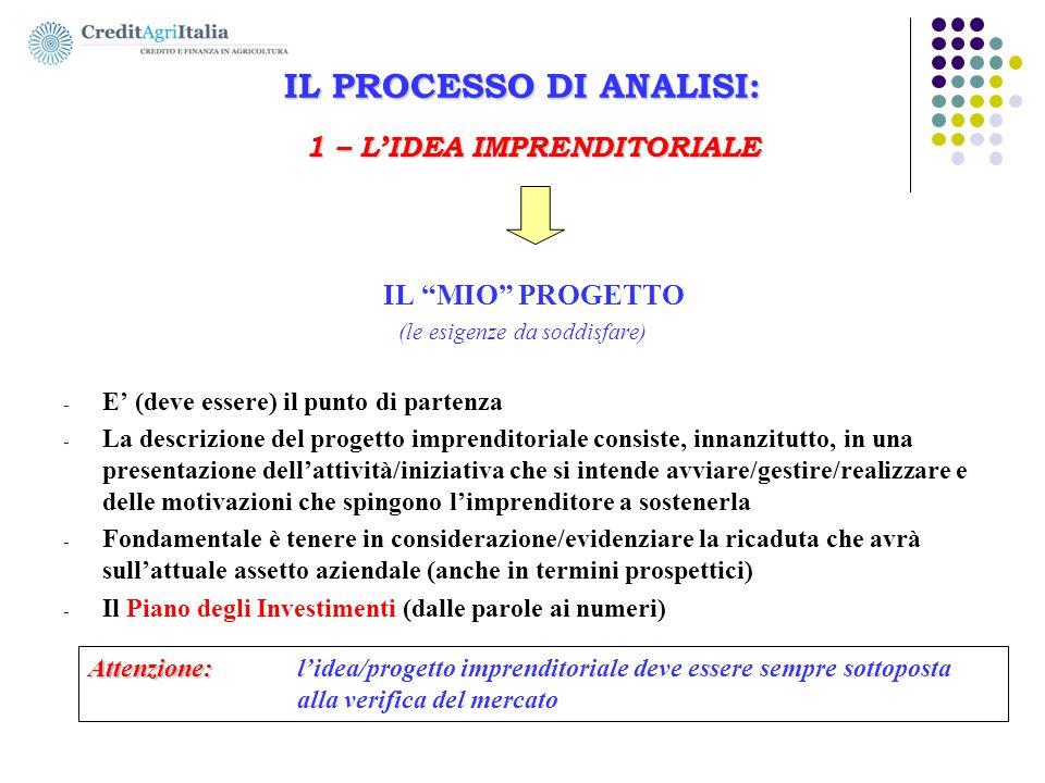 """IL PROCESSO DI ANALISI: 1 – L'IDEA IMPRENDITORIALE IL """"MIO"""" PROGETTO (le esigenze da soddisfare) - E' (deve essere) il punto di partenza - La descrizi"""