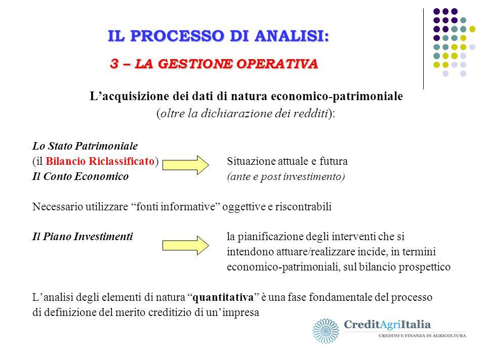 IL PROCESSO DI ANALISI: 3 – LA GESTIONE OPERATIVA Il Business Plan in agricoltura IL PROCESSO DI ANALISI: 3 – LA GESTIONE OPERATIVA L'acquisizione dei